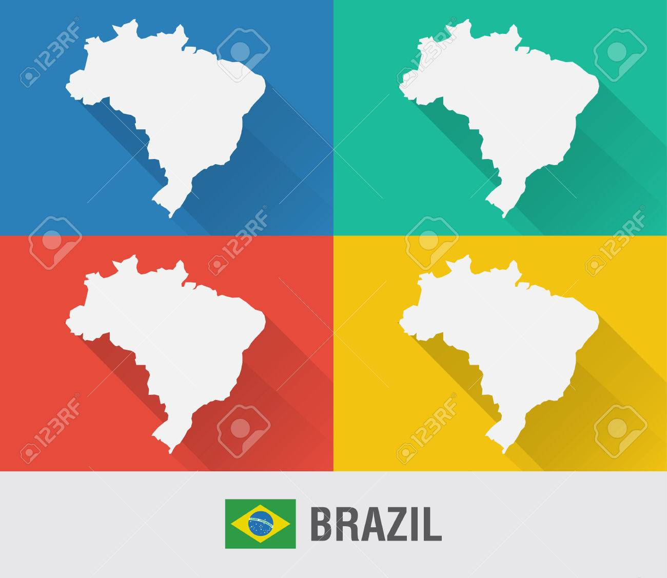 Brazil world map in flat style with 4 colors modern map design brazil world map in flat style with 4 colors modern map design stock vector gumiabroncs Choice Image