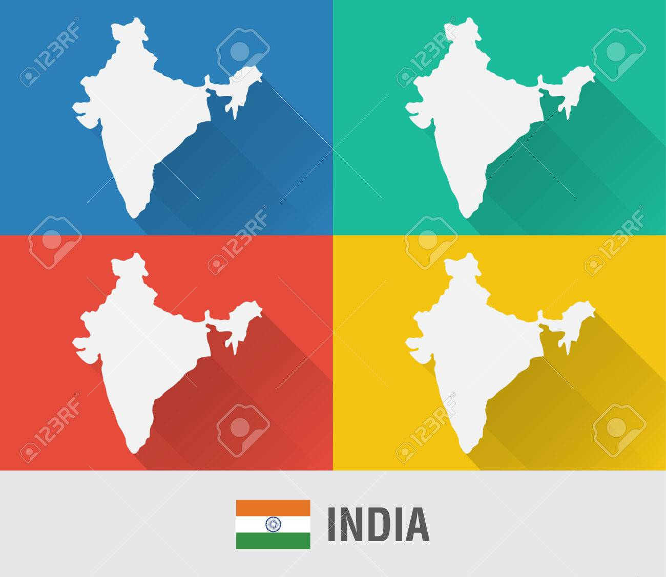 India world map in flat style with 4 colors modern map design india world map in flat style with 4 colors modern map design stock vector gumiabroncs Gallery