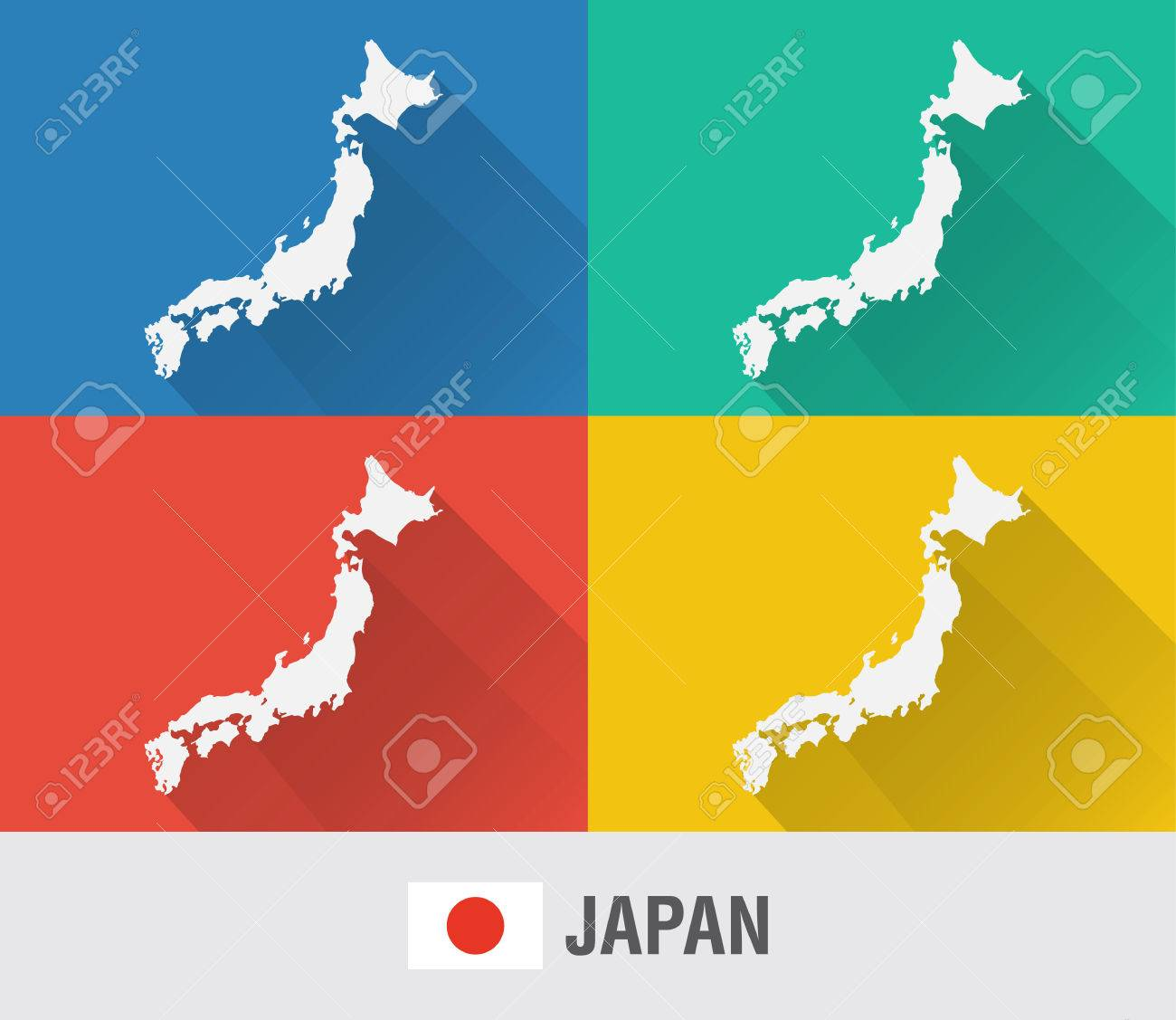 Japan world map in flat style with 4 colors modern map design japan world map in flat style with 4 colors modern map design stock vector gumiabroncs Choice Image