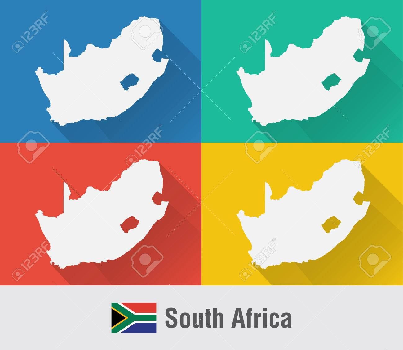 South Africa world map in flat style with 4 colors. Modern map..
