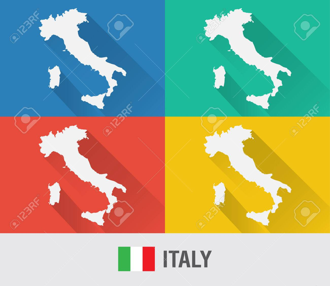 Italy World Map In Flat Style With Colors Modern Map Design - Italy world map