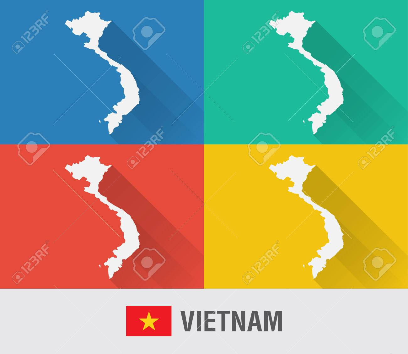 Vietnam world map in flat style with 4 colors modern map design vector vietnam world map in flat style with 4 colors modern map design gumiabroncs Images