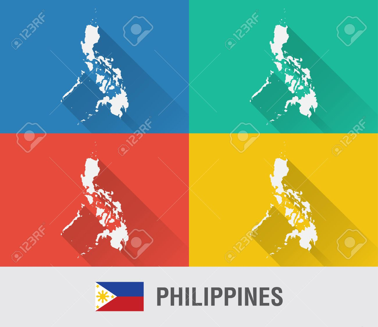 Philippines world map in flat style with 4 colors modern map philippines world map in flat style with 4 colors modern map design stock vector gumiabroncs Gallery