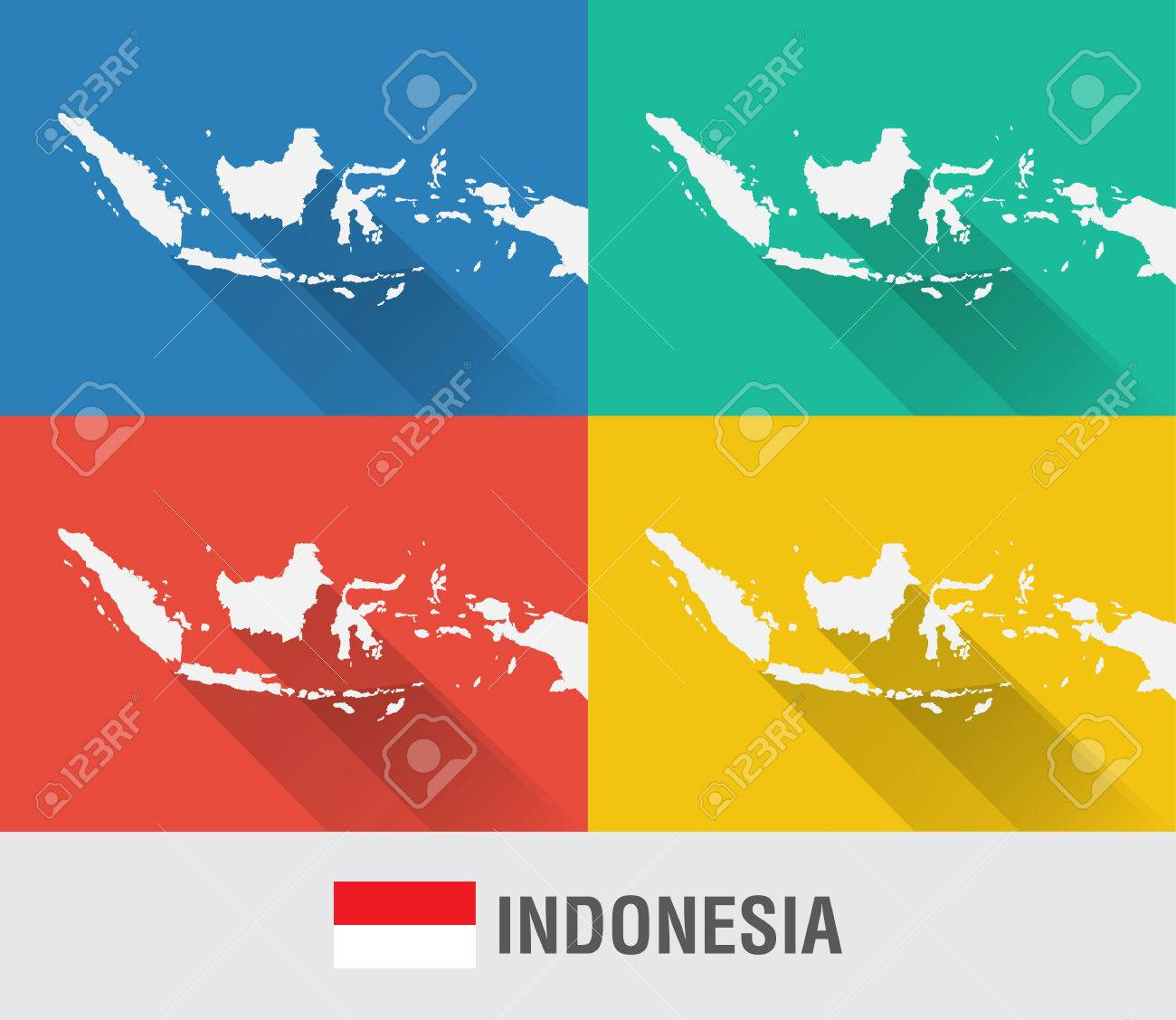 Indonesia world map in flat style with 4 colors modern map design indonesia world map in flat style with 4 colors modern map design stock vector gumiabroncs Gallery