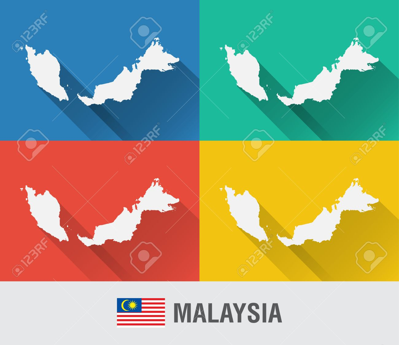 Malaysia On The World Map.Malaysia World Map In Flat Style With 4 Colors Modern Map Design