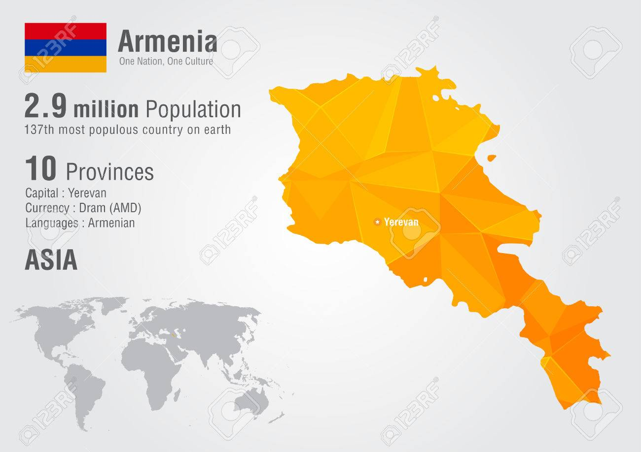 Armenia World Map With A Pixel Diamond Texture World Geography