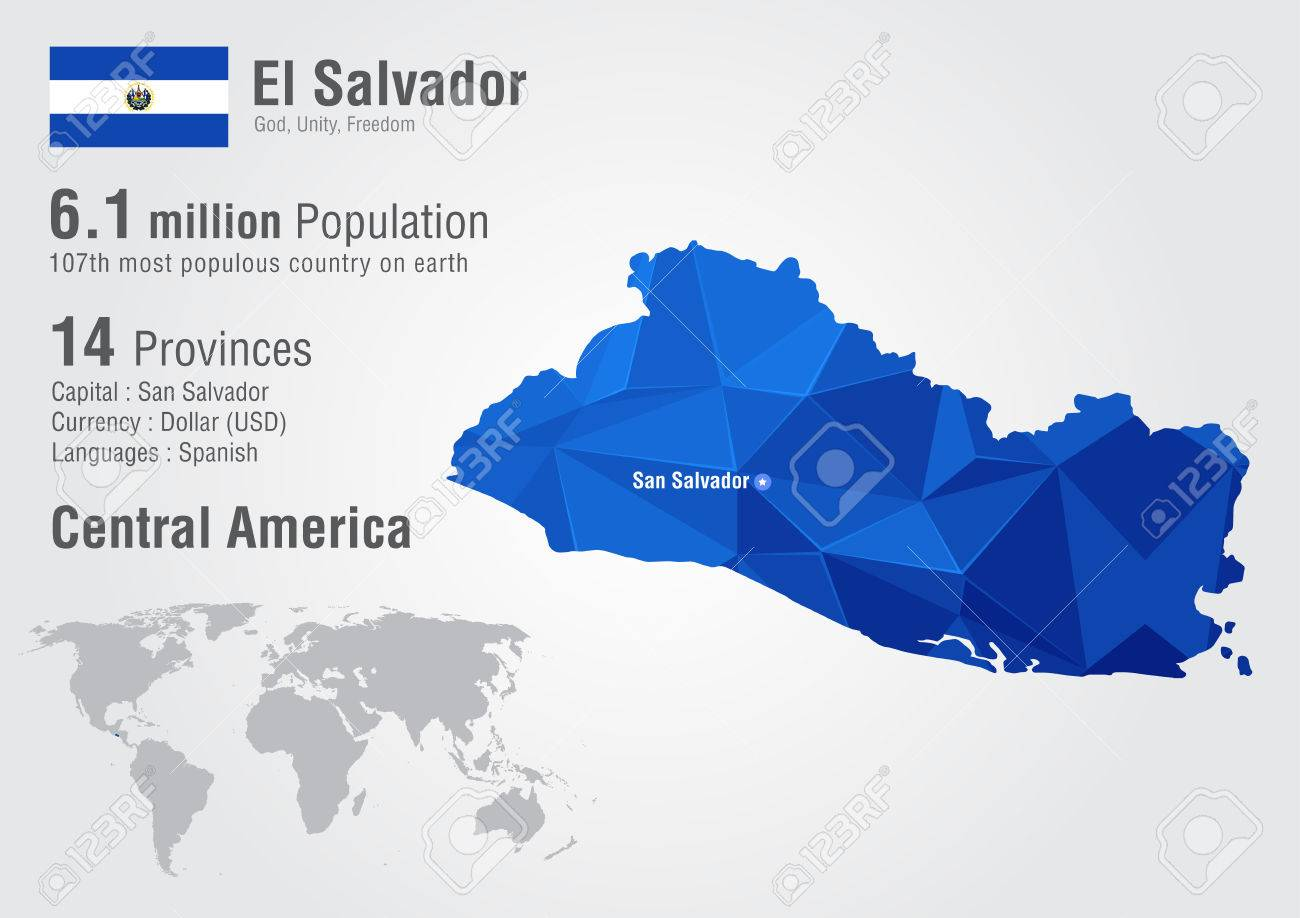El Salvador World Map With A Pixel Diamond Texture. World Geography ...