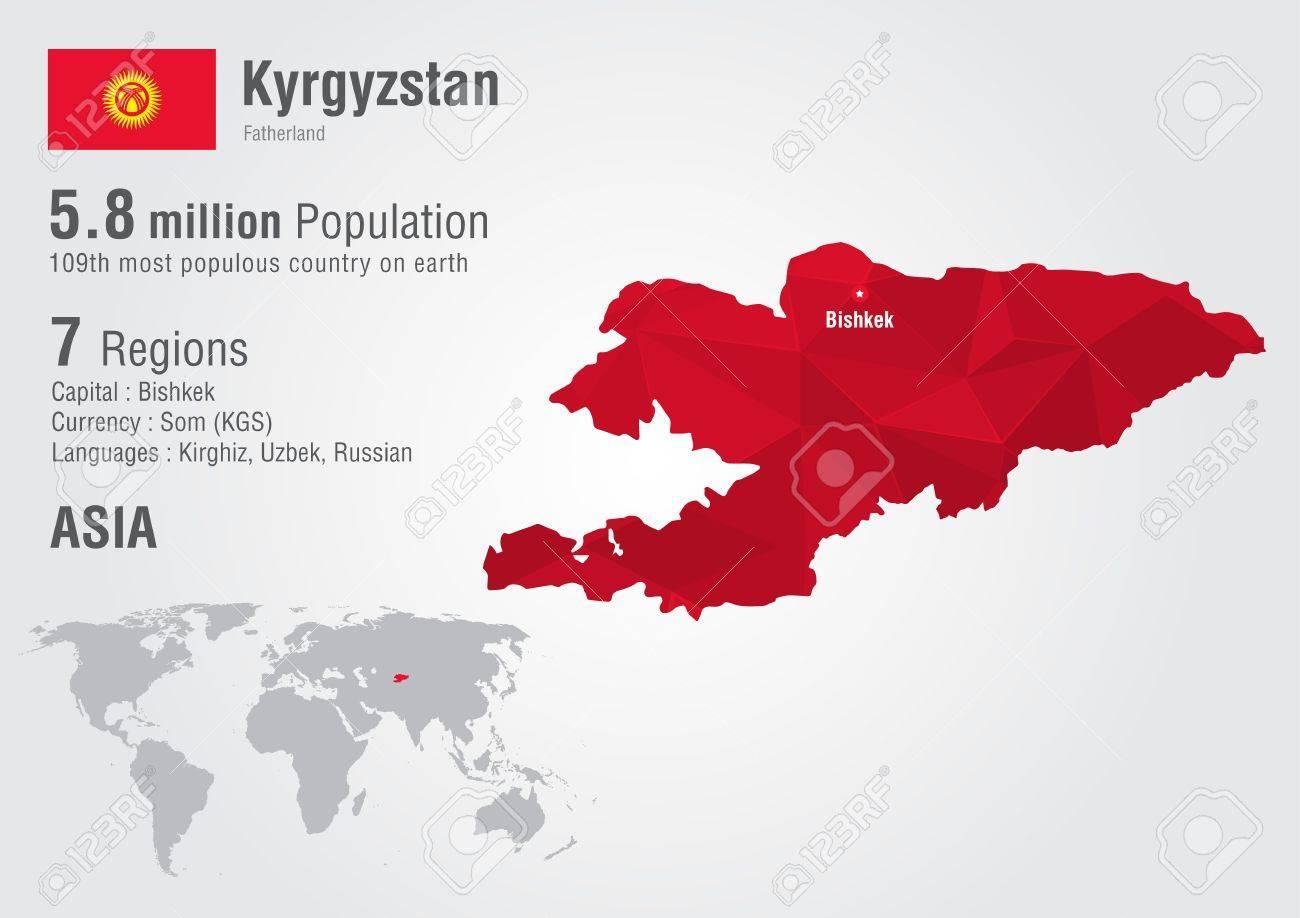 Carte Du Monde Kirghizistan.Kirghizistan Carte Du Monde Avec Une Texture De Diamant De Pixel La Geographie Mondiale