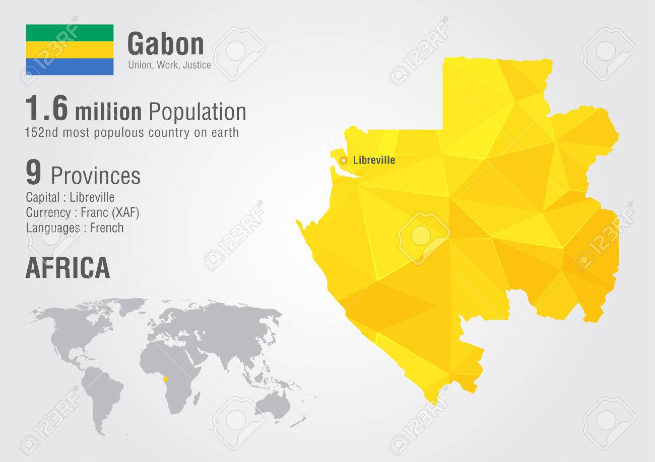 Gabon World Map With A Pixel Diamond Texture World Geography - World map geography