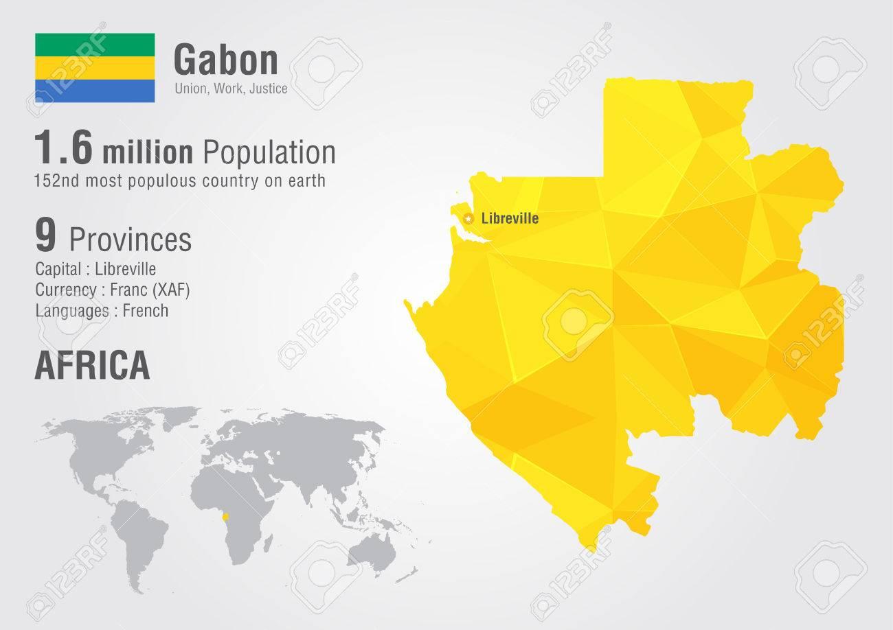 Gabon World Map.Gabon World Map With A Pixel Diamond Texture World Geography