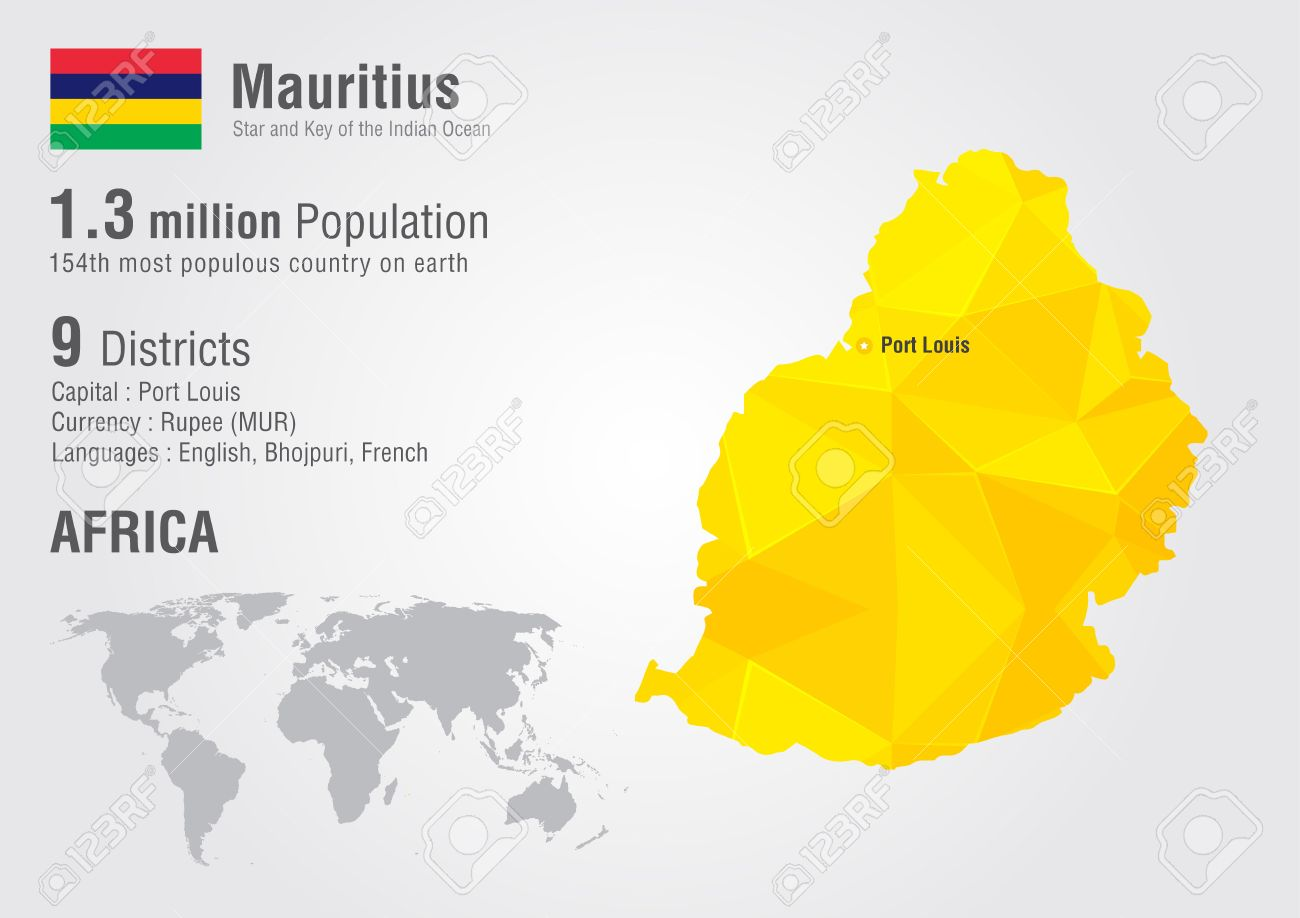 Mauritius World Map With A Pixel Diamond Texture World Geography - Mauritius on world map