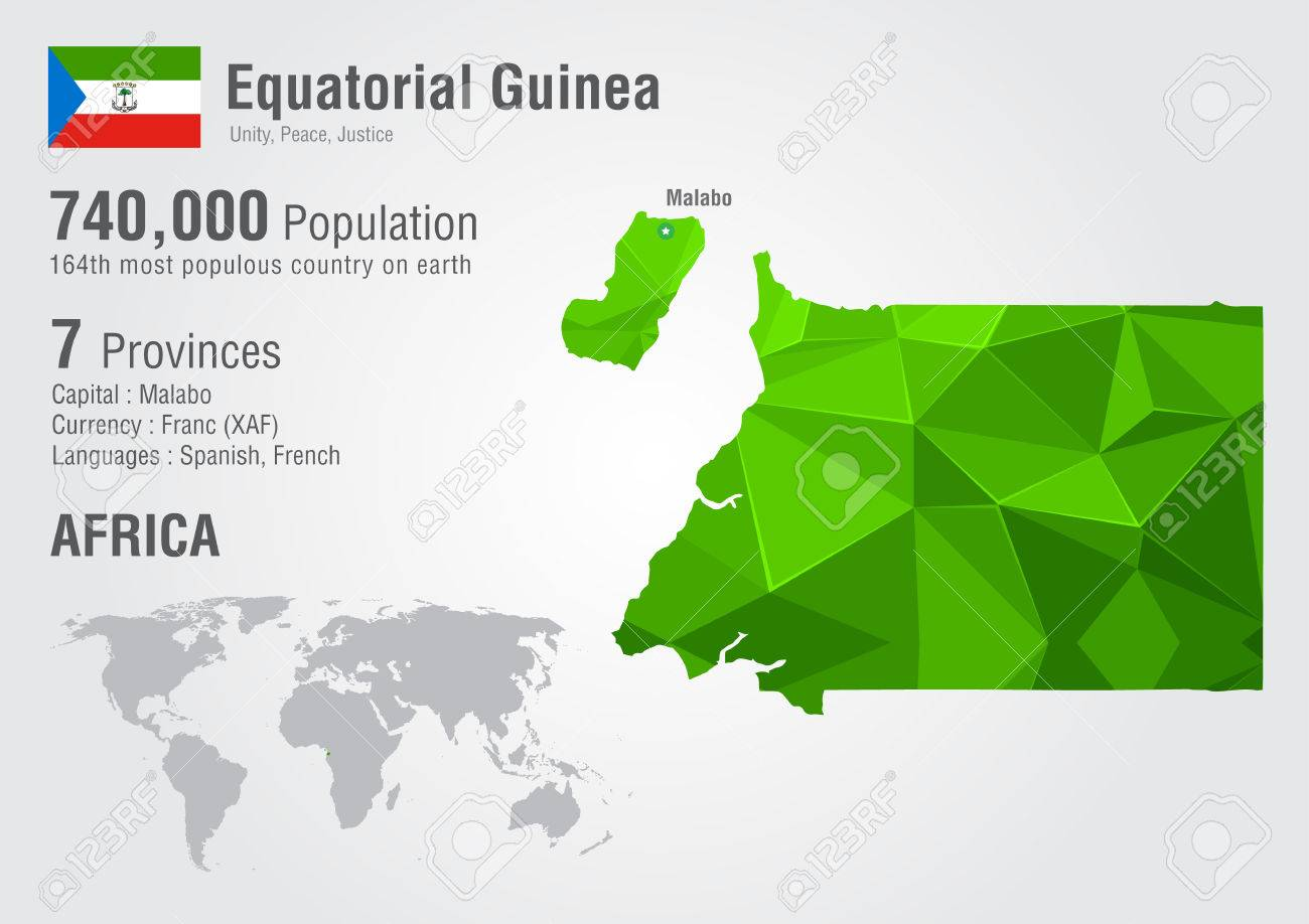 Equatorial Guinea World Map With A Pixel Diamond Texture. Wolrd ...