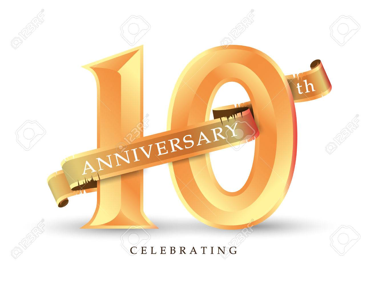 Template Number 10th Anniversary Celebrating Classic Logo Vector