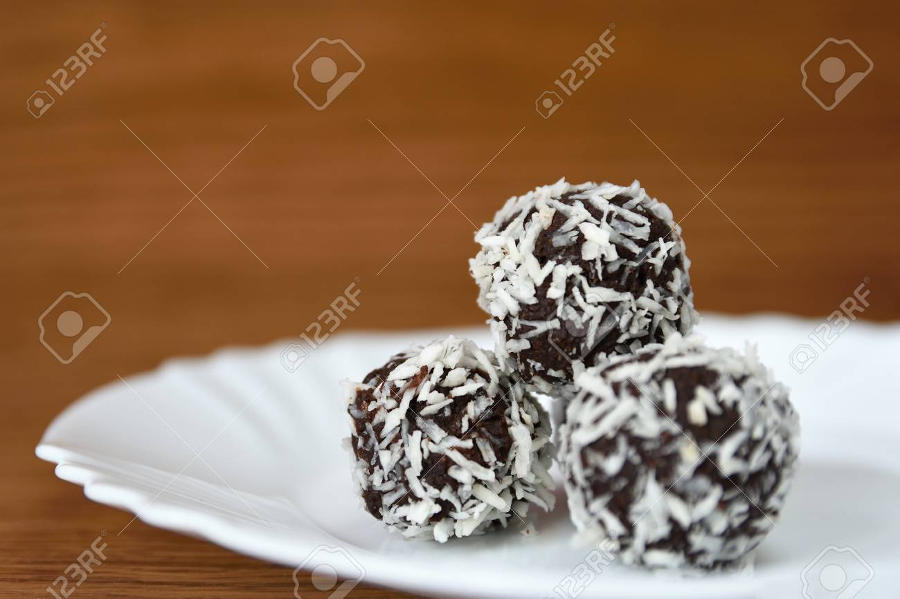 Christmas Sweets On A Plate - Rum Balls In Coconut. Traditional ...