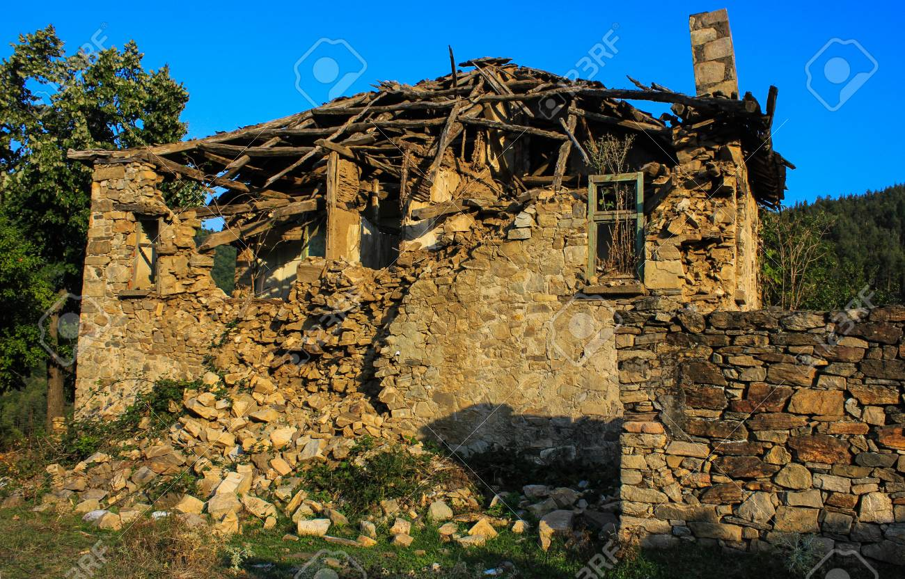 Abandoned houses in village Dyadovtsi near Ardino, Bulgaria