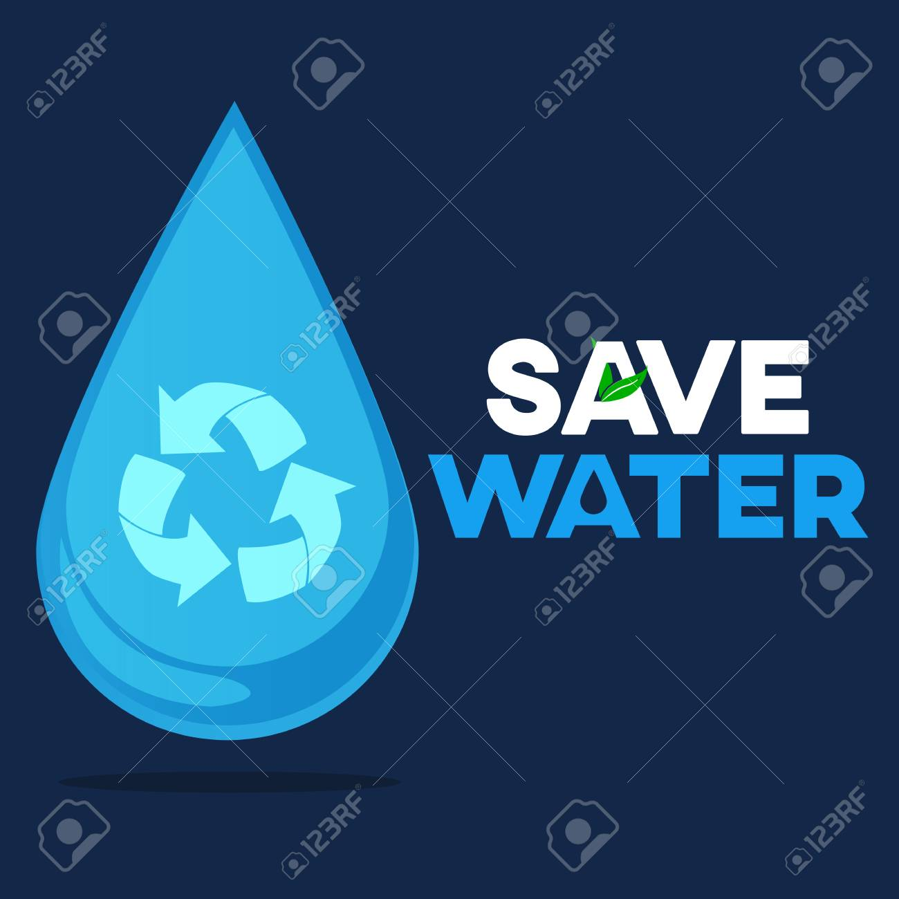 save water graphic design vector or background greeting card
