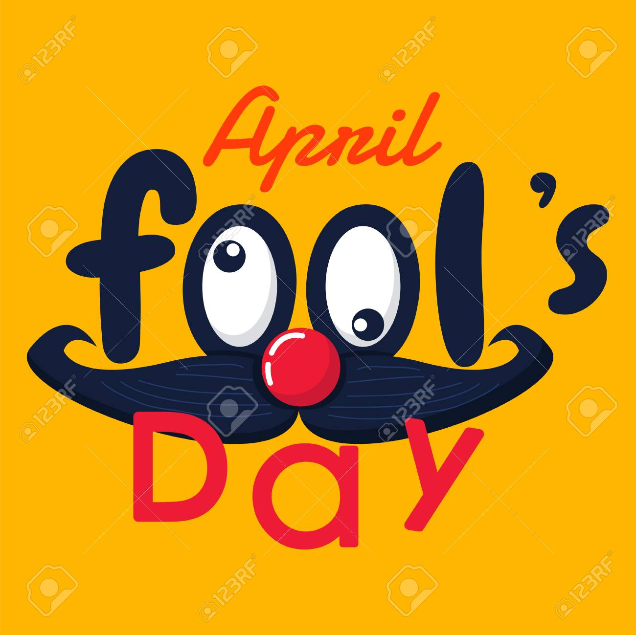 April Fools Day Vector Text And Funny Face Graphic Background