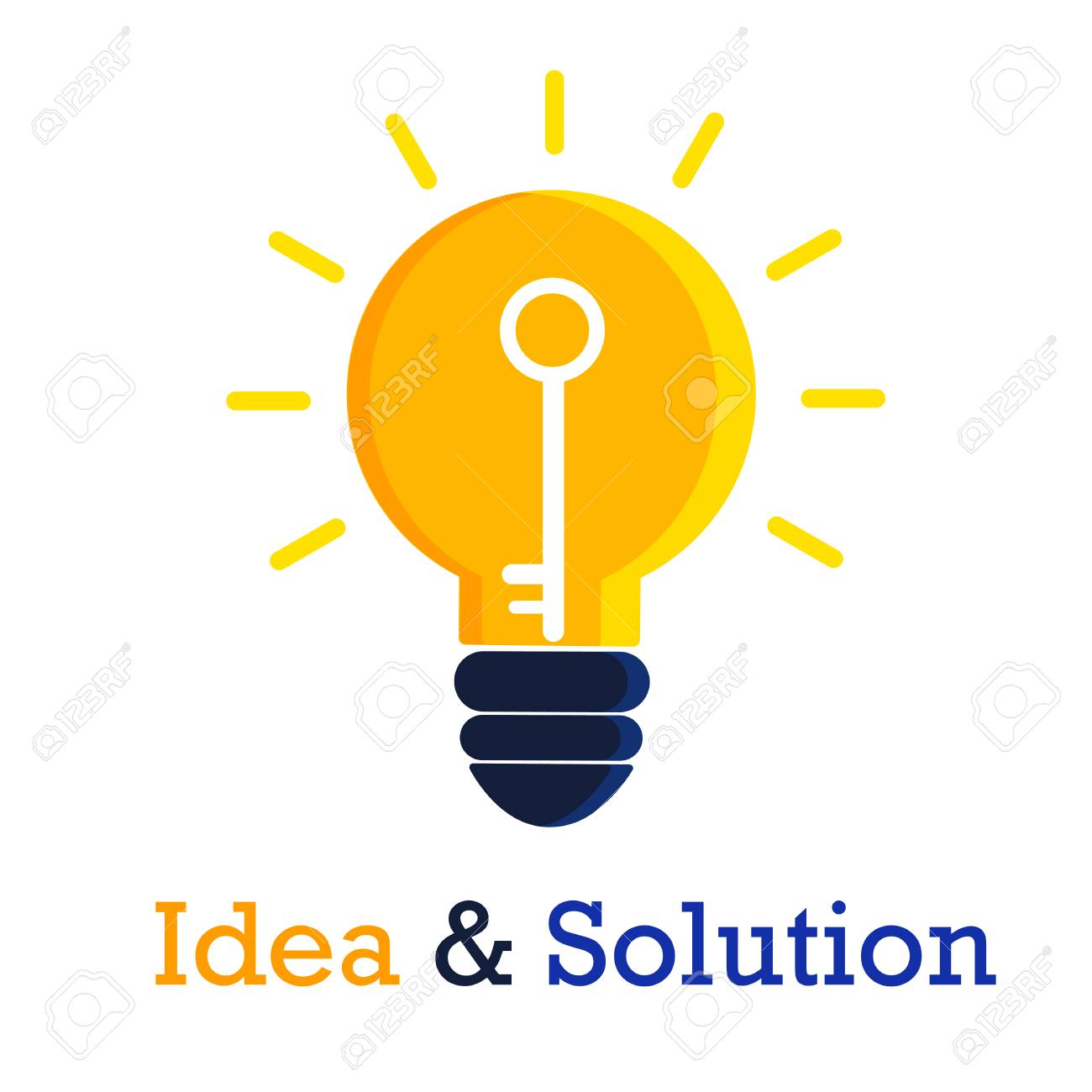idea and solution icon design on white background royalty free