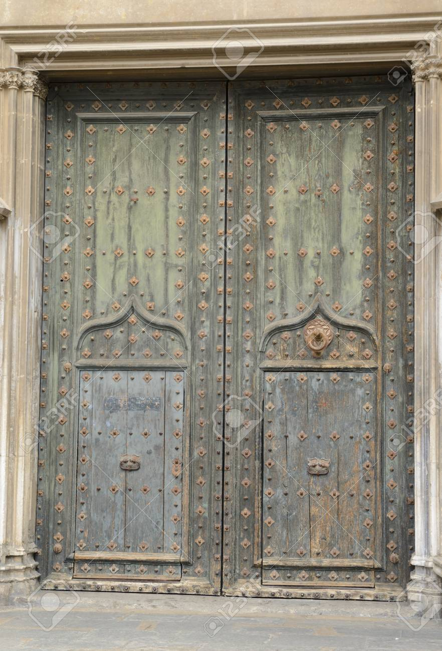 Door Of Saint Michael Portico Of The Cathedral Of Girona, Catalonia,  Northeastern Spain.