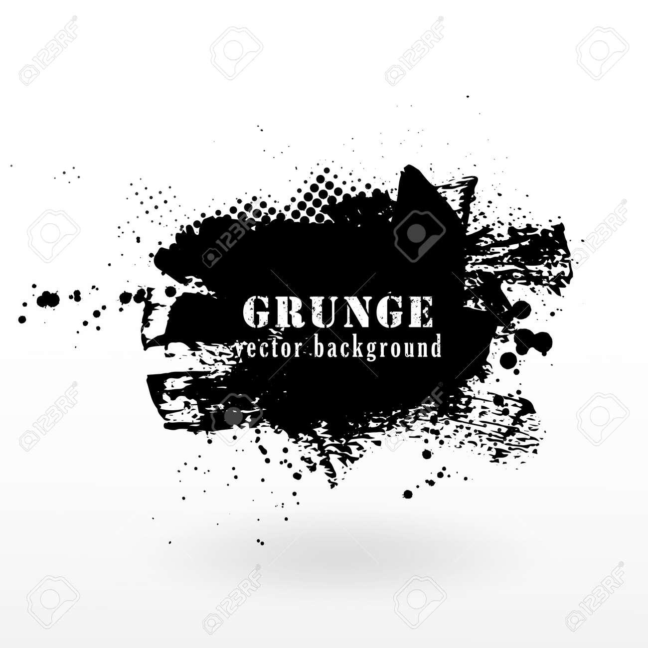 Vector grunge banner background. Grunge texture halftone and black ink splatter. - 165568002
