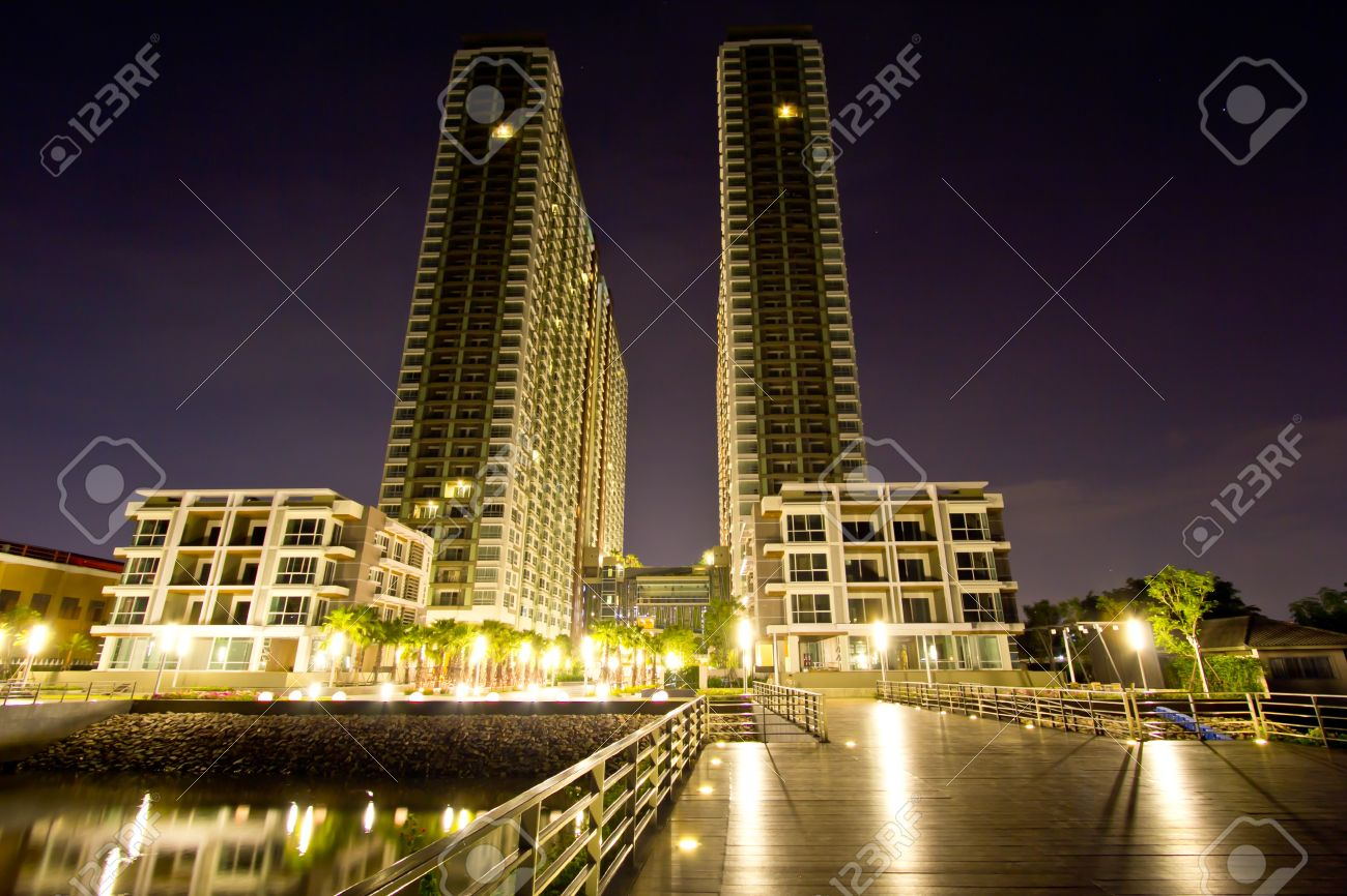 Twin towers at night, bangkok,Thailand Stock Photo - 16667856