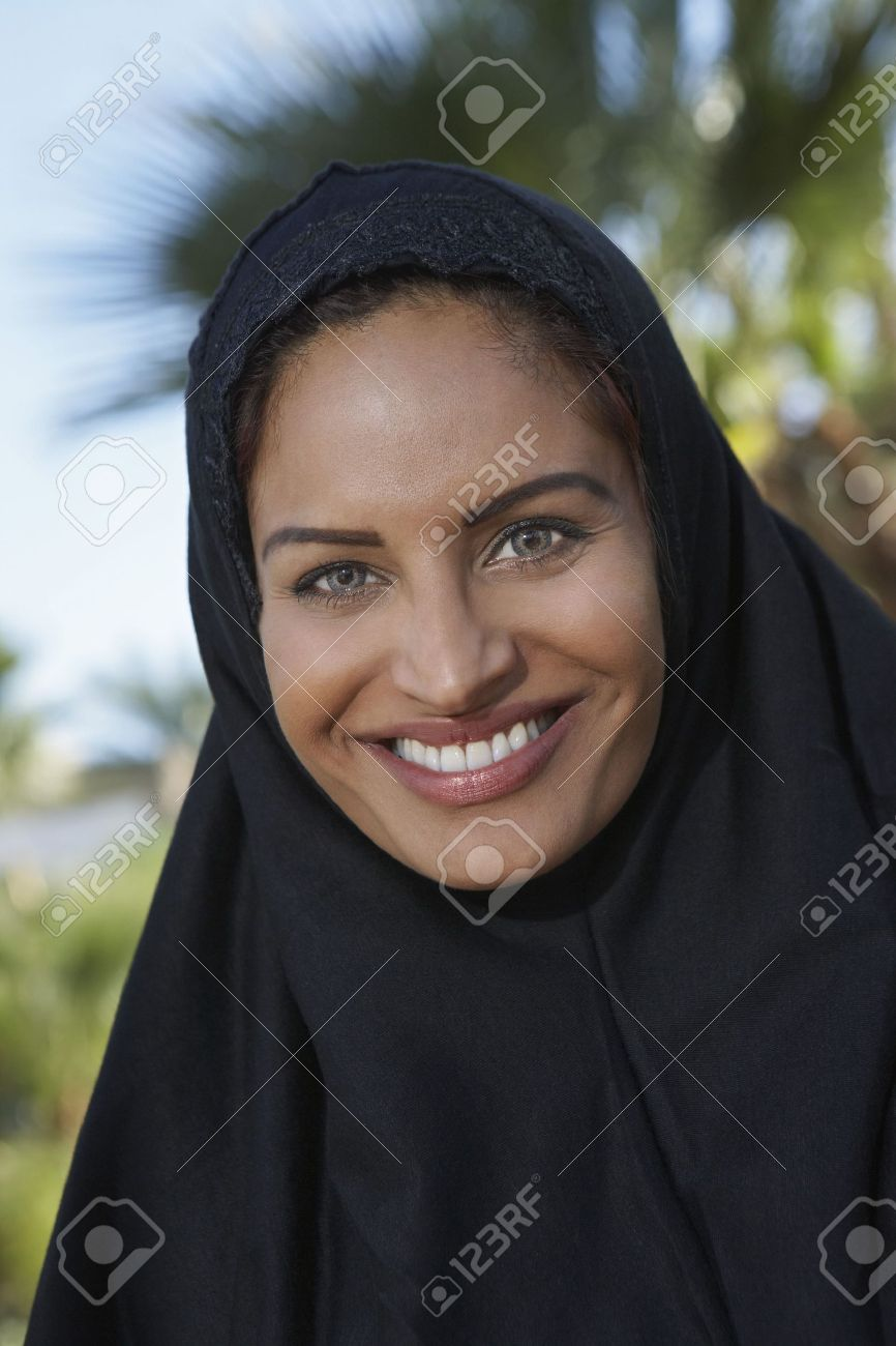 Portrait of muslim woman in black headscarf Stock Photo - 3540857
