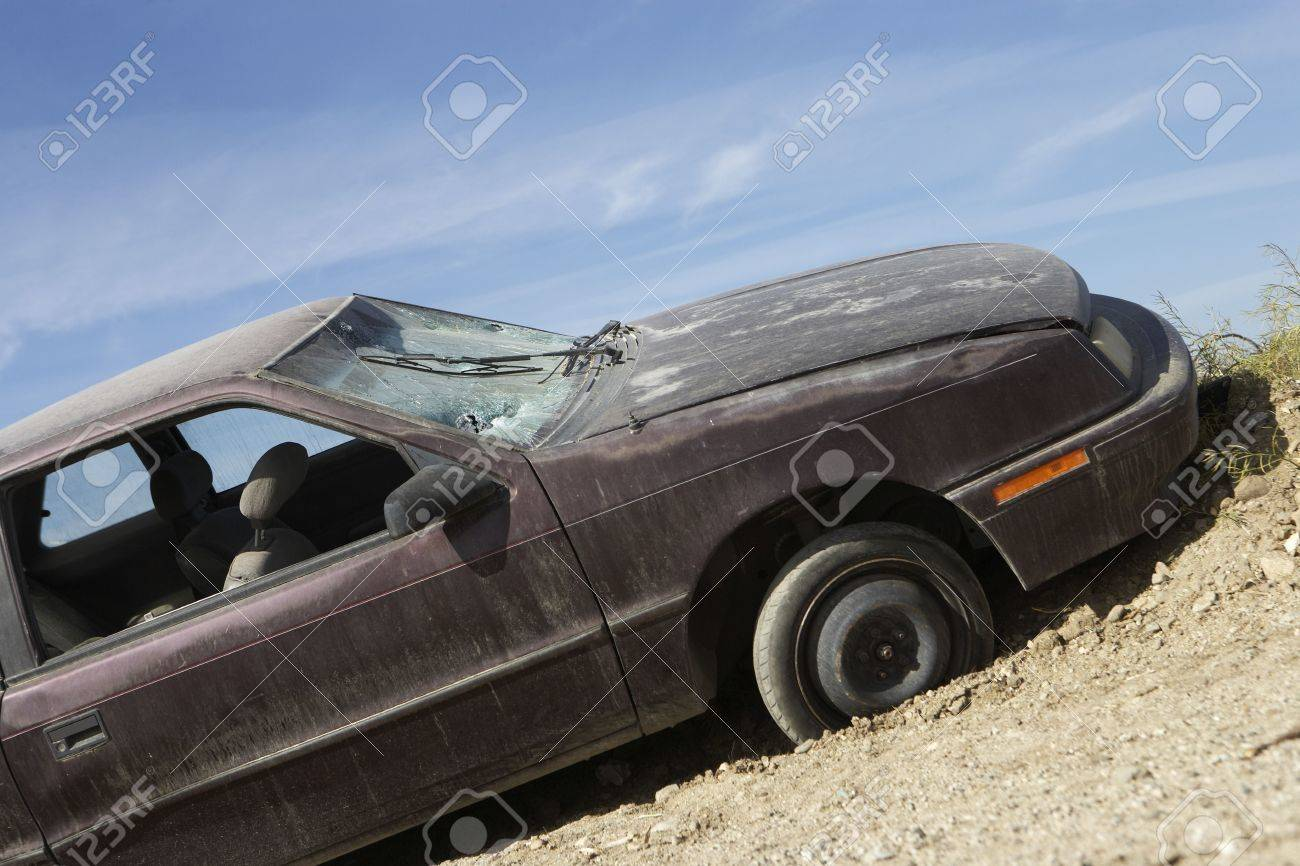 Abandoned car on roadside Stock Photo - 3540881