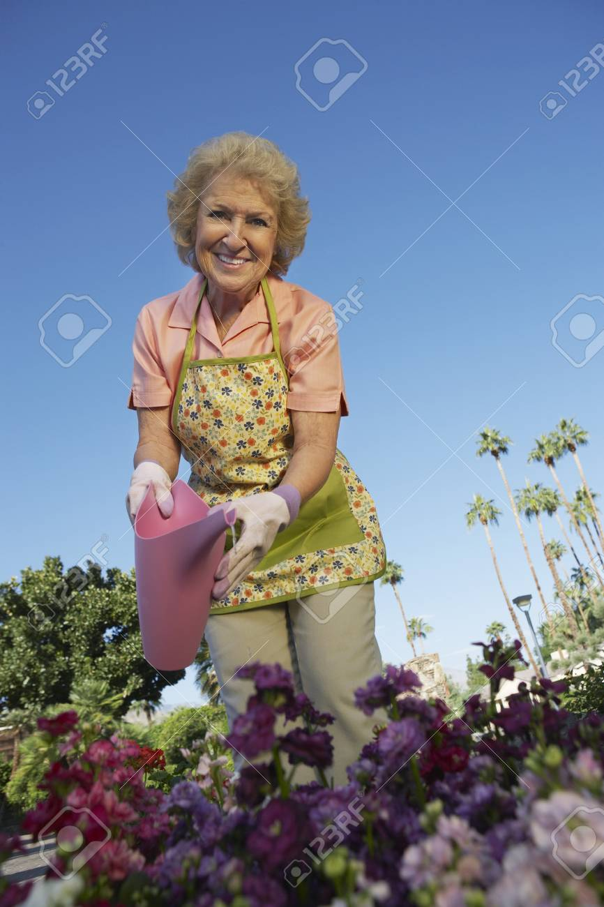 Senior woman watering flowers in garden Stock Photo - 3812318