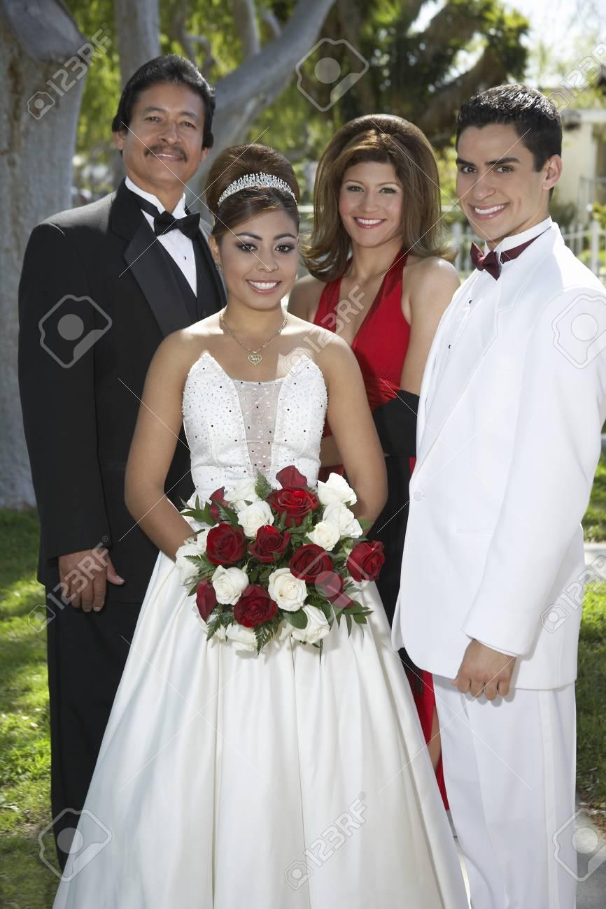 Portrait of wedding couple with parents Stock Photo - 3811223