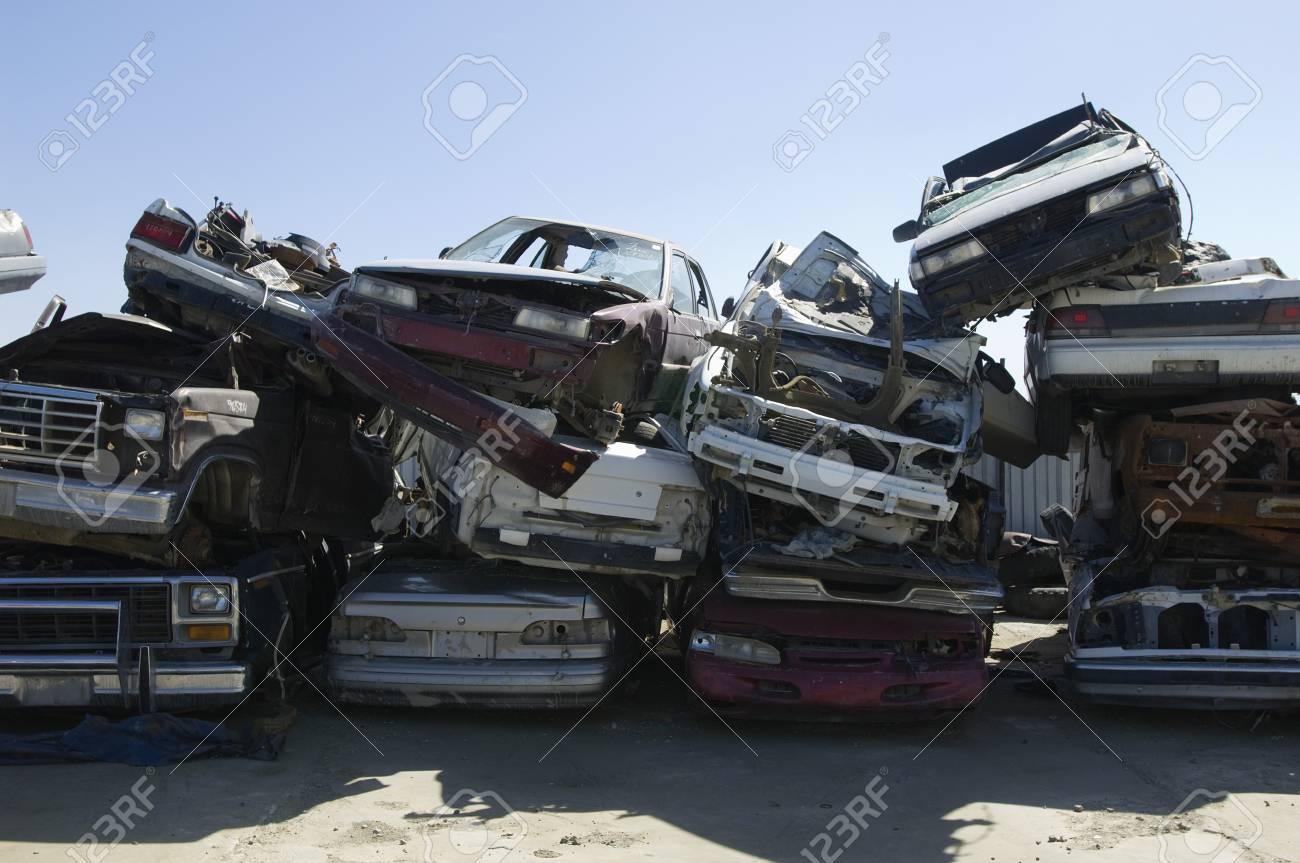 Stacked cars in junkyard Stock Photo - 3811685