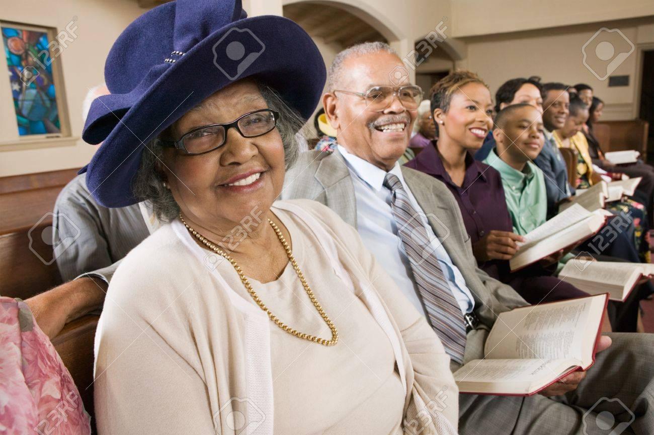 Senior Woman in Sunday Best at Church Stock Photo - 5428320
