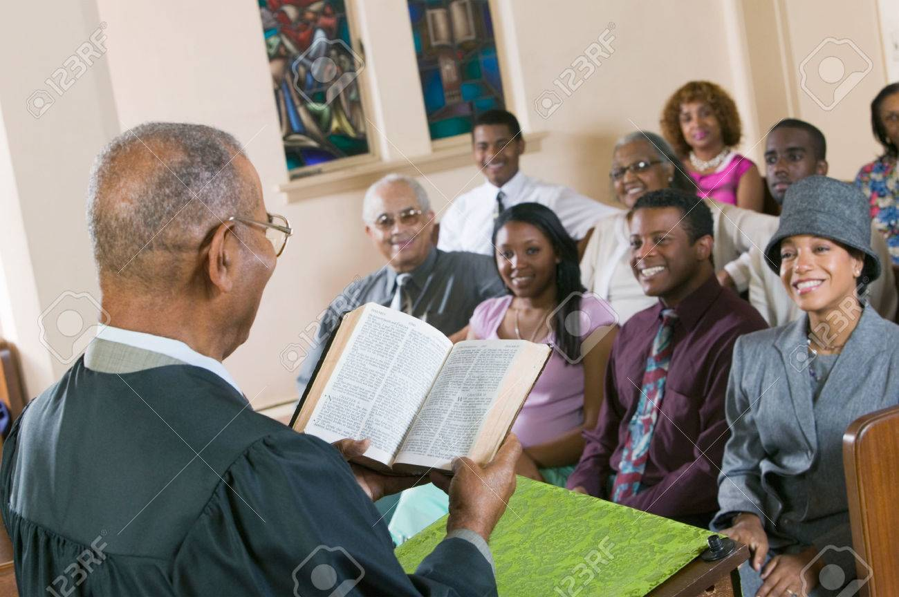 Minister Giving Sermon in Church Stock Photo - 5428329
