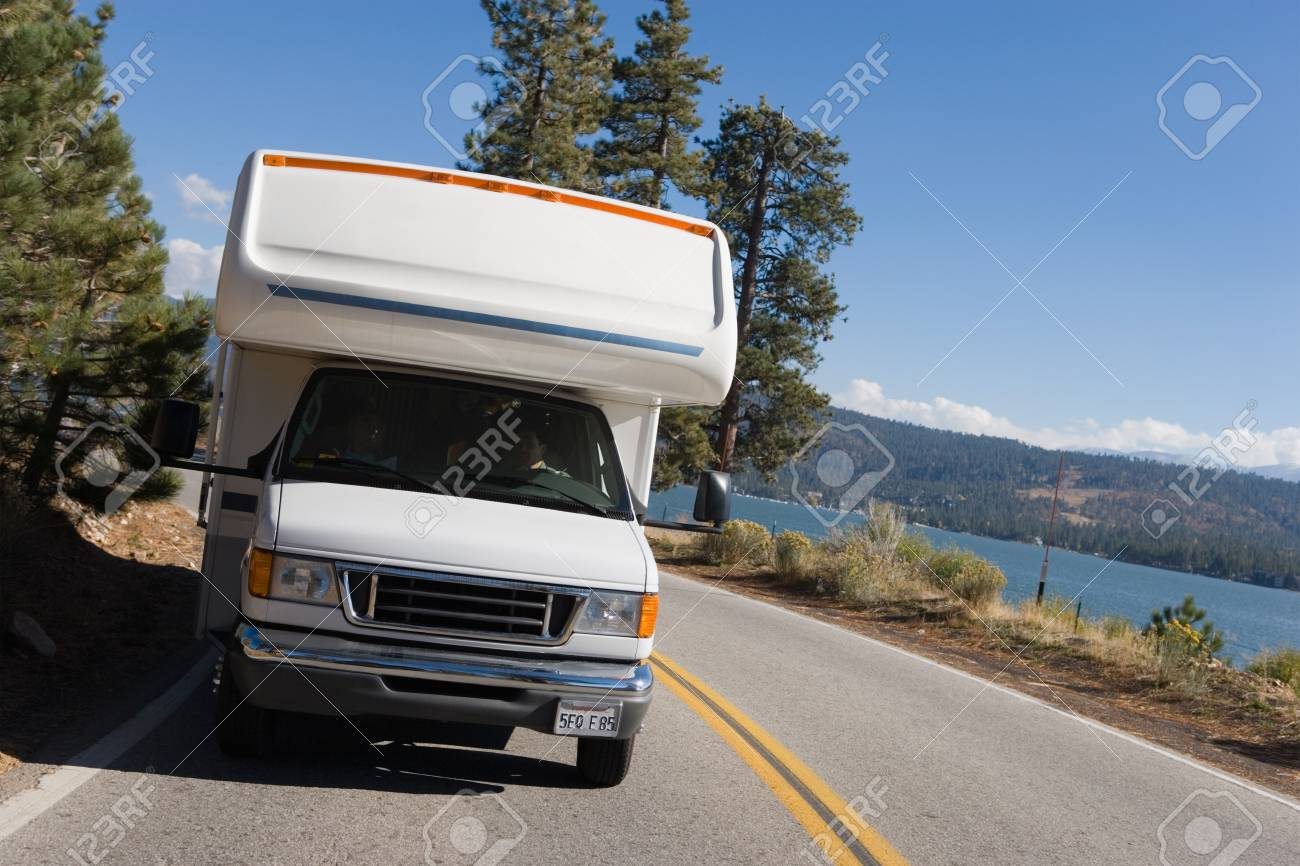 RV Driving on Mountain Road Stock Photo - 5428344