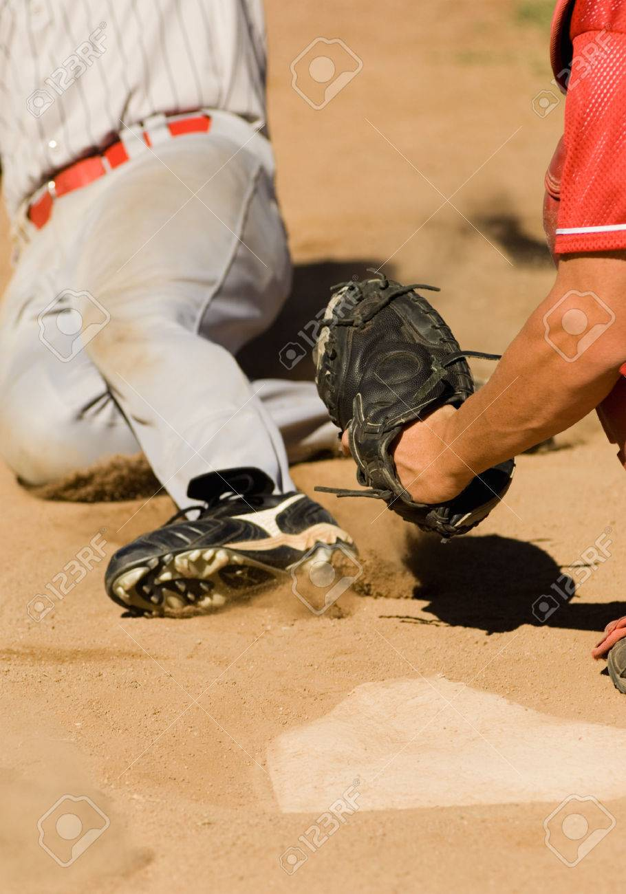 White apron homebase - Homebase Close Play At Home Plate In Baseball Game