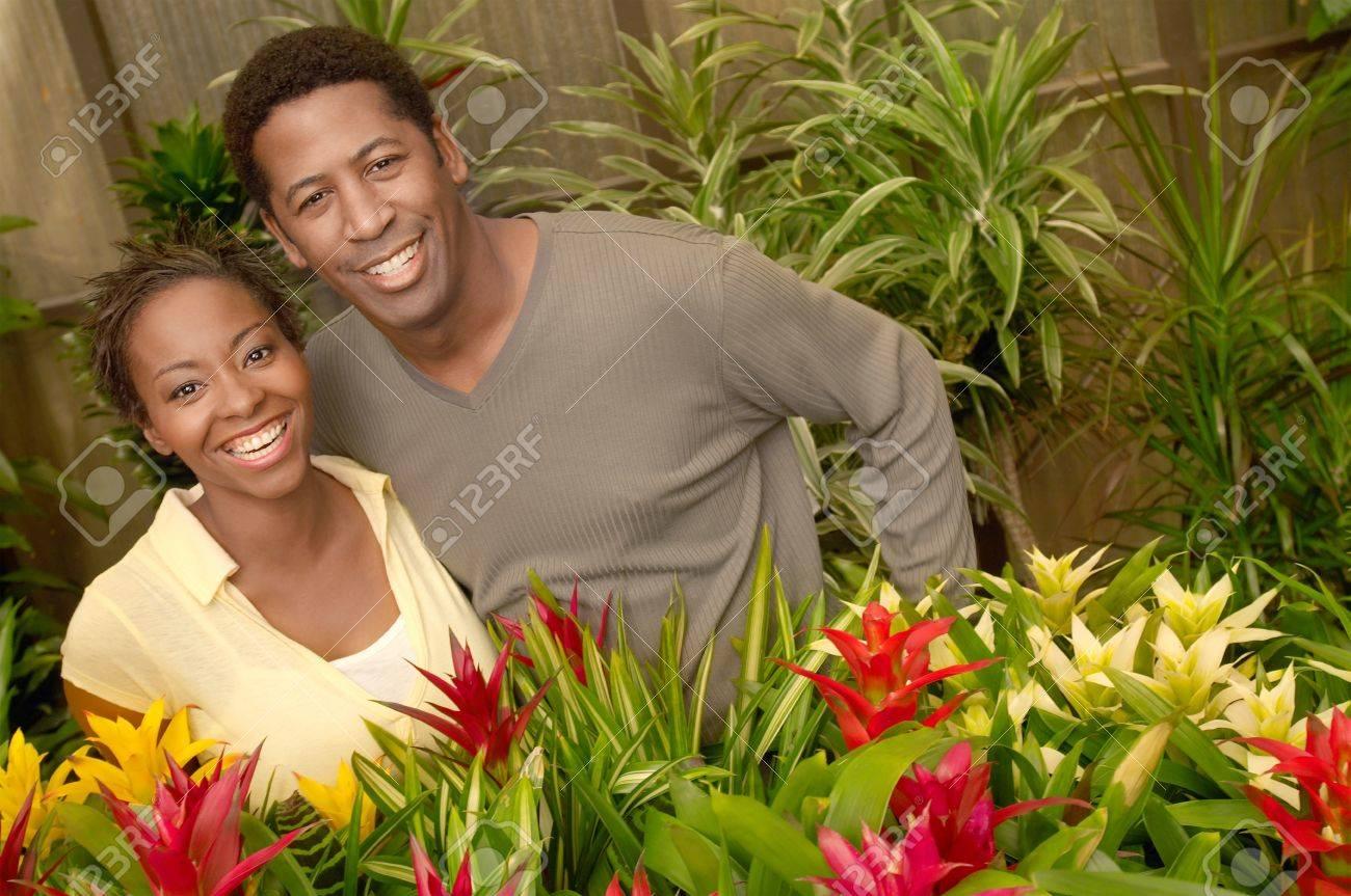 Couple Choosing Plants at a Nursery Stock Photo - 5438100