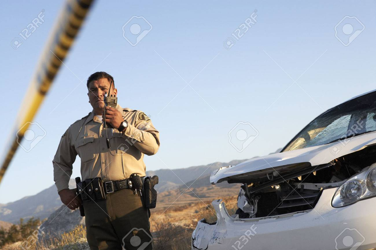 Police Officer on Walkie Talkie Stock Photo - 5460024