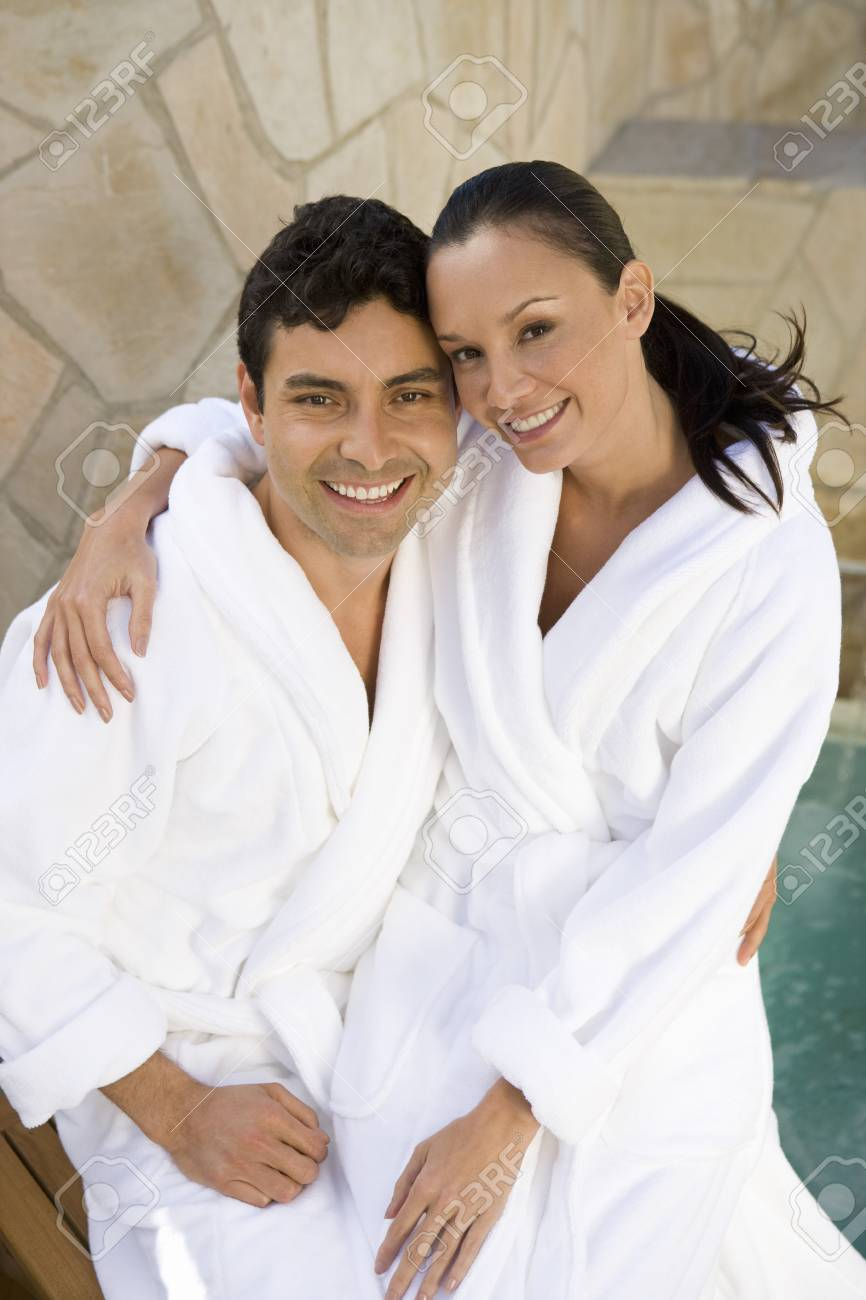 Portrait of couple embracing outdoors Stock Photo - 5460400