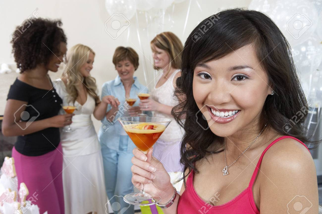 Friends Drinking Cocktails at Bridal Shower Stock Photo - 5475103