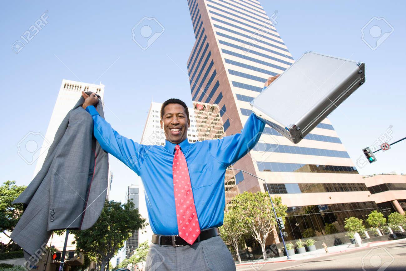 Businessman celebrating at street Stock Photo - 5475600