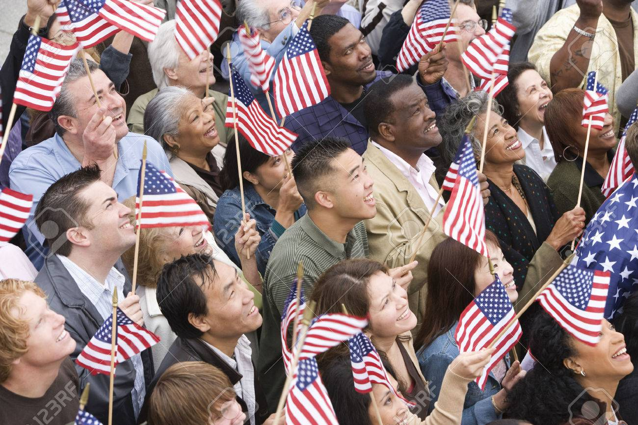 Crowd holding American flags Stock Photo - 5475641