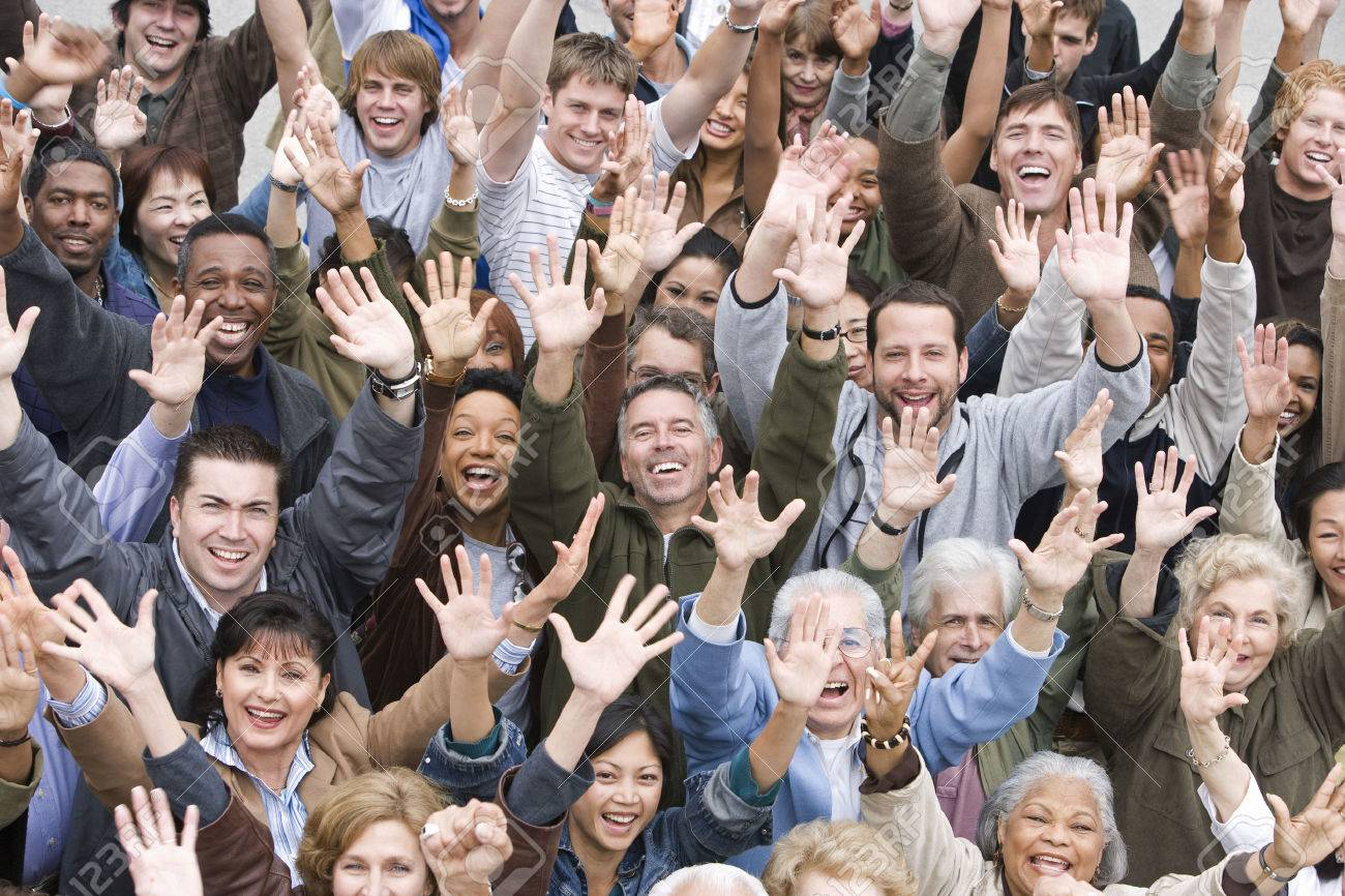 Crowd with arms raised Stock Photo - 5475643