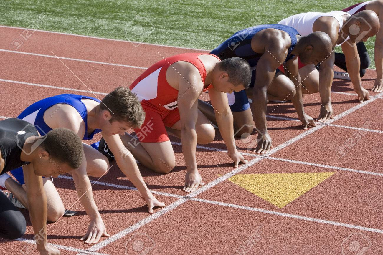 Athletes ready to run, high angle view Stock Photo - 5475957