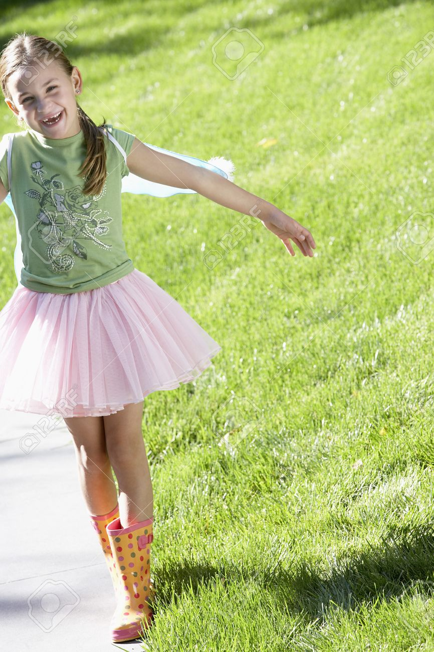 youngster girls Stock Photo - Young Girl Playing Outside