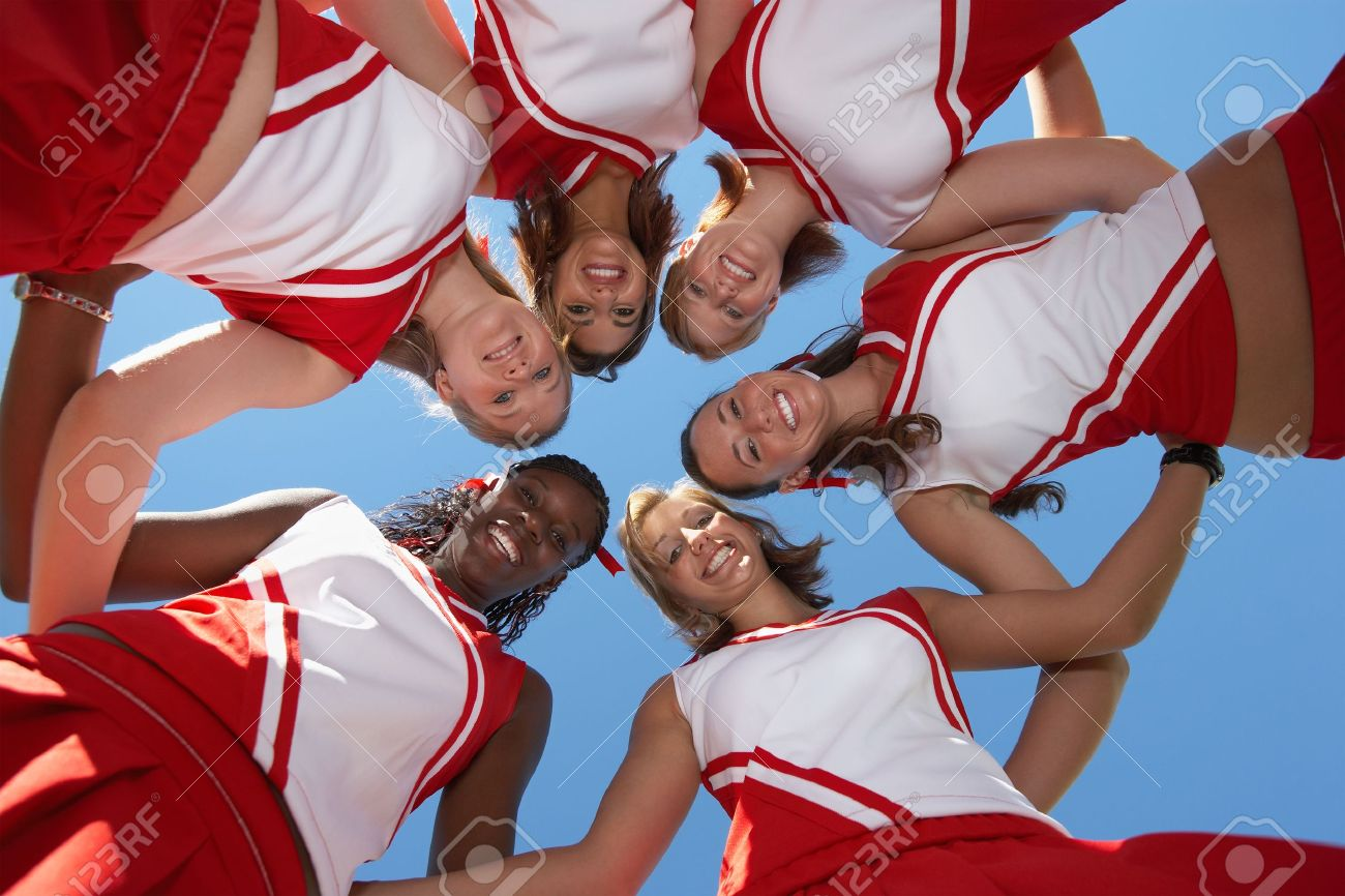 Cheerleaders in Huddle view from below (view from below) Stock Photo - 8836447