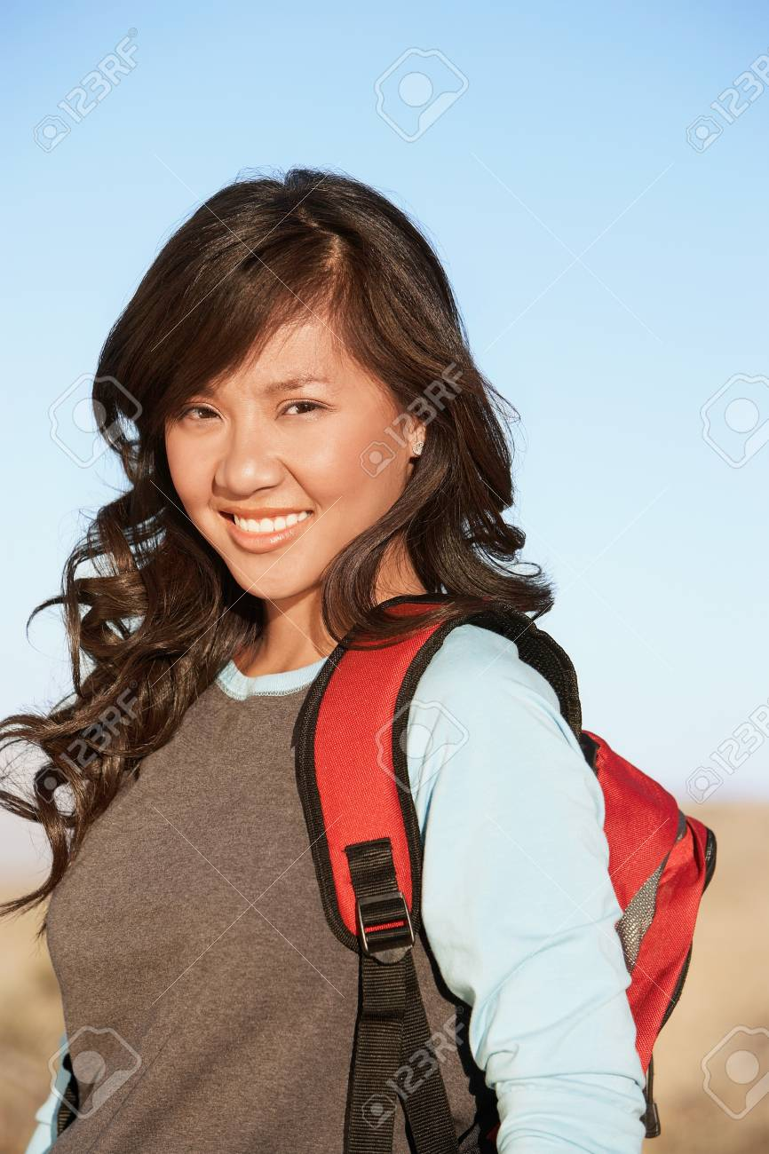 Young Woman wearing Backpack portrait. Stock Photo - 8822445