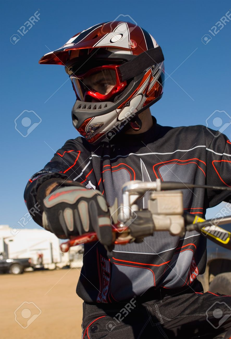 Motocross racer outdoors Stock Photo - 8844497