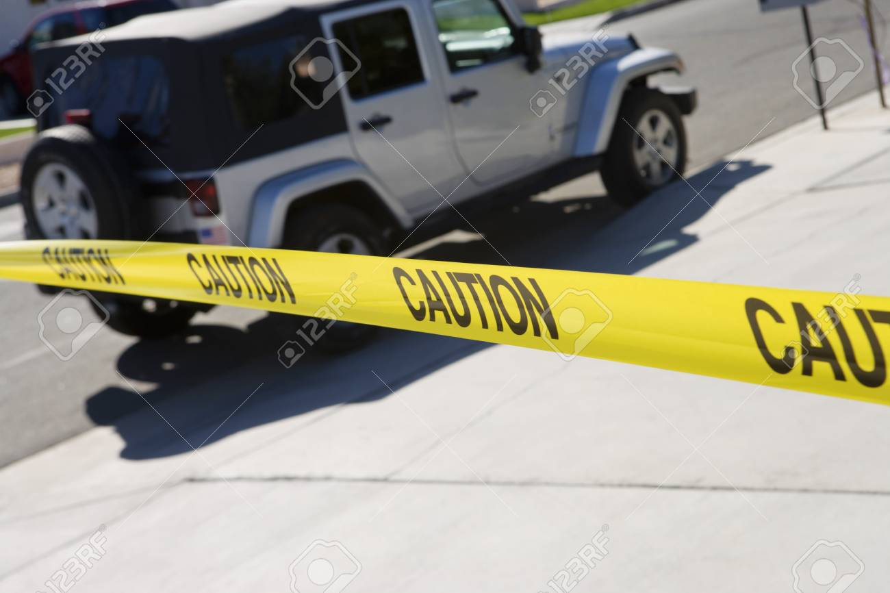 Jeep Behind Police Tape Stock Photo - 12548102