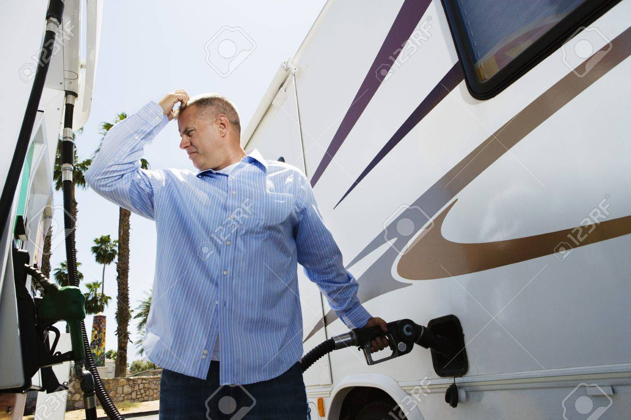 Man Refueling RV Stock Photo - 12592665
