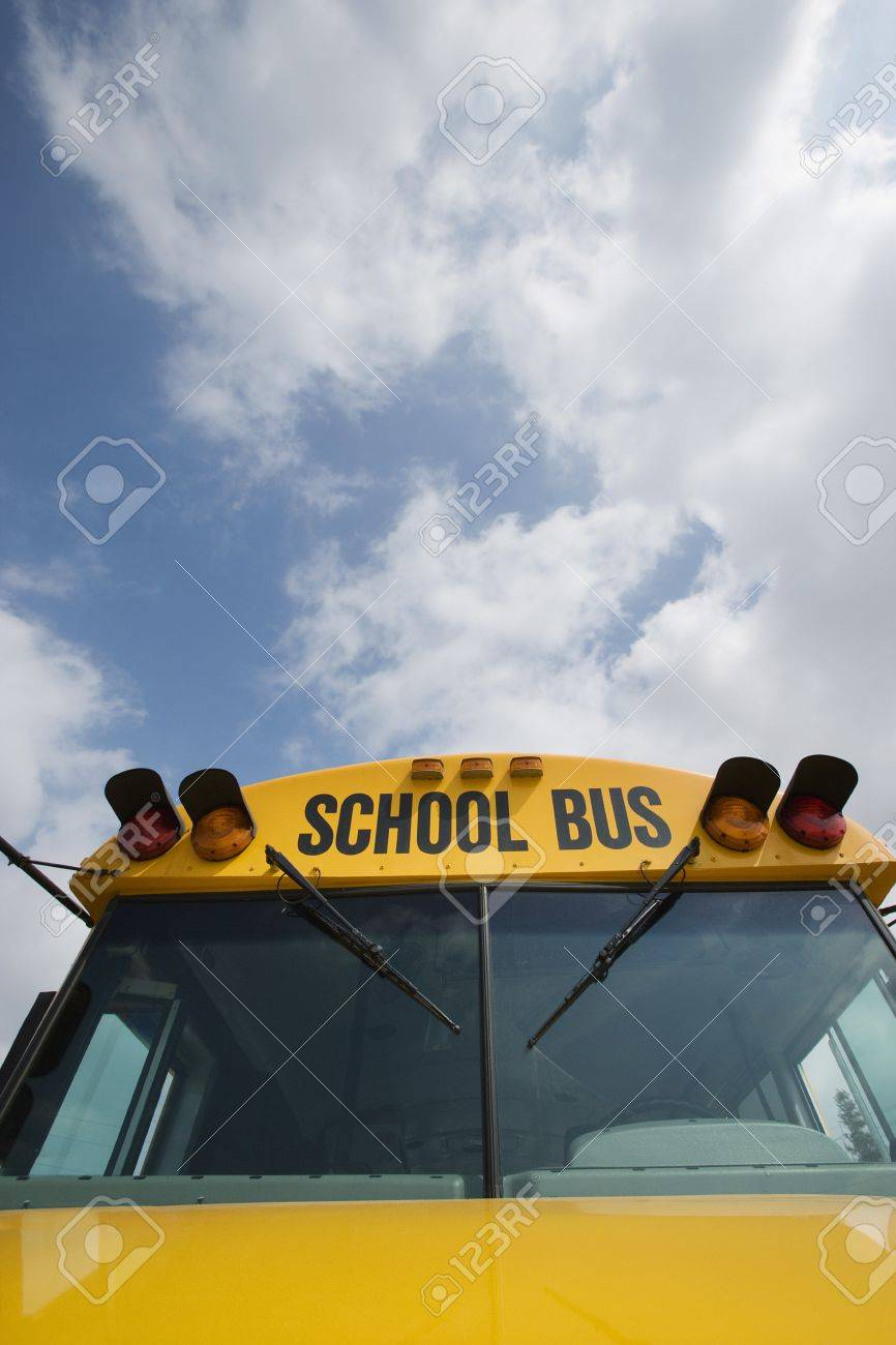 Caution Lights and Windshield of School Bus Stock Photo - 12592924