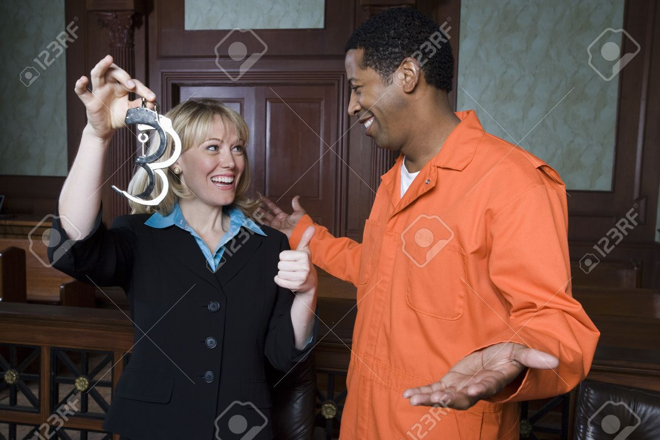 Lawyer and client celebrating in court Stock Photo - 12736601